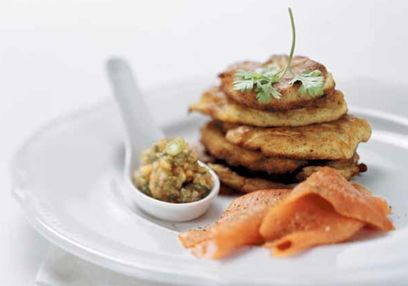Potato Cakes with Smoked Salmon & Papaya Chutney