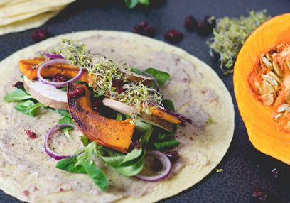 Pumpkin Wraps with Cranberry Mousse
